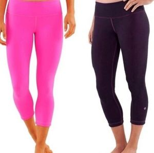 Lululemon Wunder Under Reversible crops Pink Black